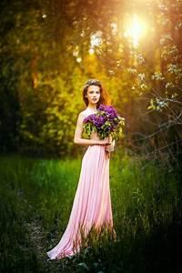Women, Dress, Grass, Pink, Dress, Lilac, Women, Outdoors