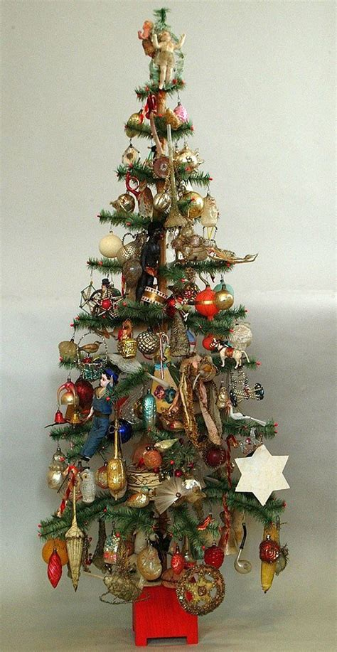german feather tree with all kind of old ornaments