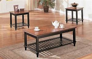 black oak wood finish classic 3pc coffee table set With dark oak coffee table sets