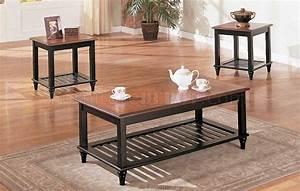 black oak wood finish classic 3pc coffee table set With dark oak coffee table sets