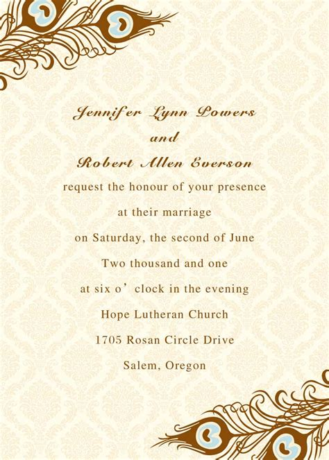 wedding card advice printable peacock wedding invitations ewi156 as low as 0 94