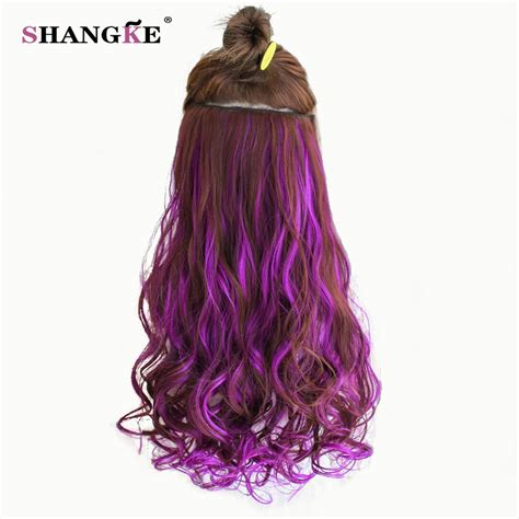 Shangke 24 Long Colored Curly Hair Extensions 5 Clip In