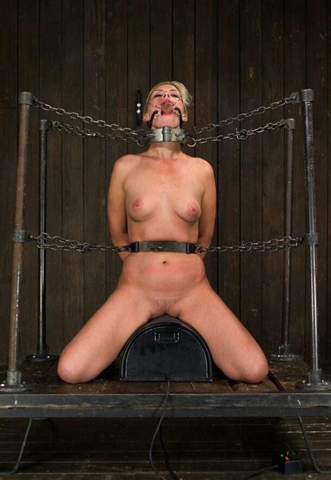 Chained Slut Rides Mecahnical Dildo 17335
