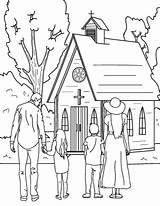 Church Coloring Going Printable Drawing Museprintables Colouring Easy Sunday Human Drawings sketch template