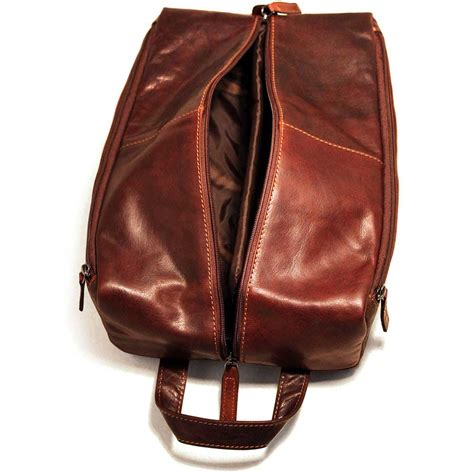 jack georges voyager leather large toiletry kit shoe bag