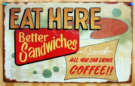 vintage cuisine eat here tin sign diner food sandwiches coffee shop