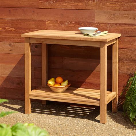 Teak Outdoor Square End Table With Storage Outdoor