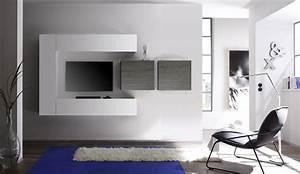 Ensemble Meuble TV Blanc Laqu Brillant Et Gris Design NUSCO 2