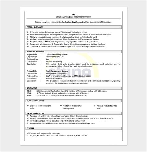 Create Resume Free For Fresher by Resume Template For Freshers 18 Sles In Word Pdf