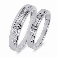 110 Ct Tw Diamond His And Hers Wedding Rings 10k White