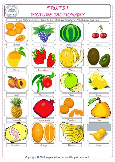 fruits esl printable vocabulary worksheets