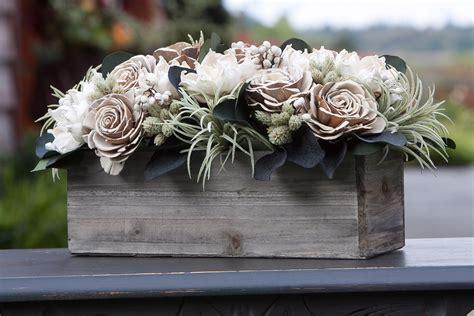 Neutral Rectangular Sola Flower Arrangement with Faux ...
