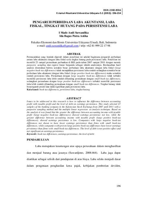(PDF) PENGARUH PERBEDAAN LABA AKUNTANSI, LABA FISKAL