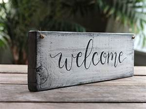12, Inch, Welcome, Wood, Sign