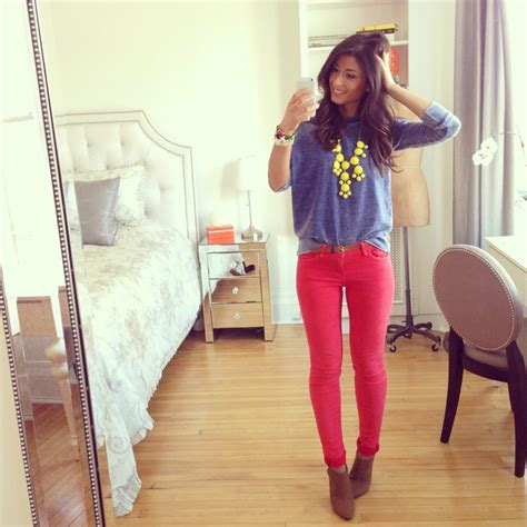 Mimi Ikonn | Spring outfit red pants statement necklace blue jumper stella mccartney booties ...