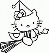 Coloring Witch Pages Preschool Hello Kitty Printable Colouring Everfreecoloring sketch template