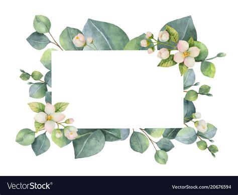 watercolor green floral card  vector image