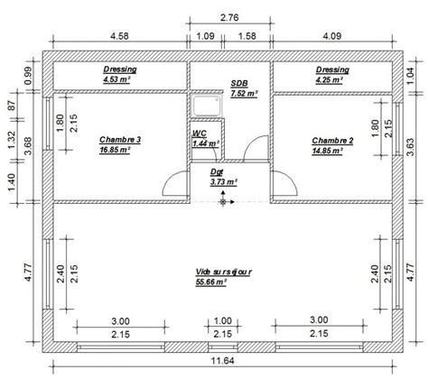 plan 騁age 3 chambres plan maison plain pied 3 chambres