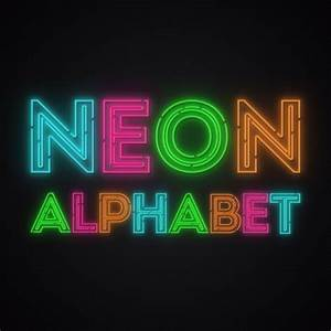 neon alphabet letters from a to z and ten numbers in neon With neon letters