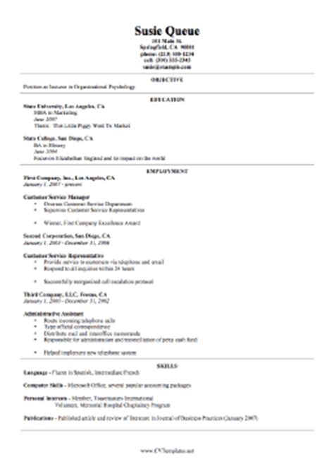 detailed cv format for cv resume
