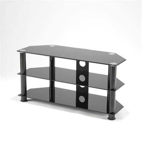 Black Glass Three Shelves Plasma Lcd Tv Stand 3242 Inch