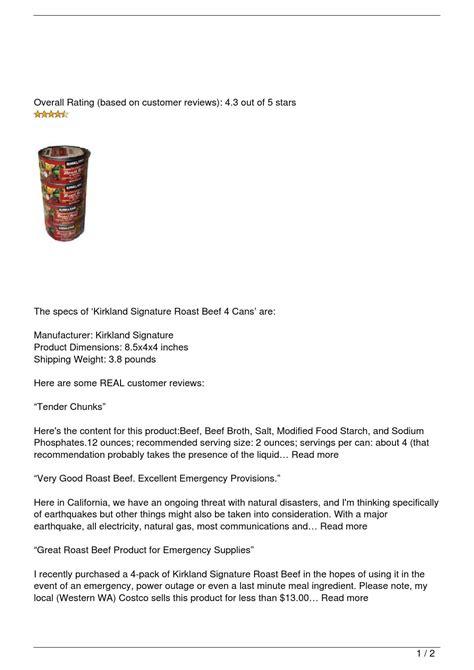 kirkland signature roast beef  cans review  keywester