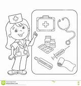 Coloring Aid Medical Medicine Clipart Worksheet Worksheets Doctor Medico Cartoon Outline Activities Tools Printable Template Della Drawing Profession Kid Activity sketch template
