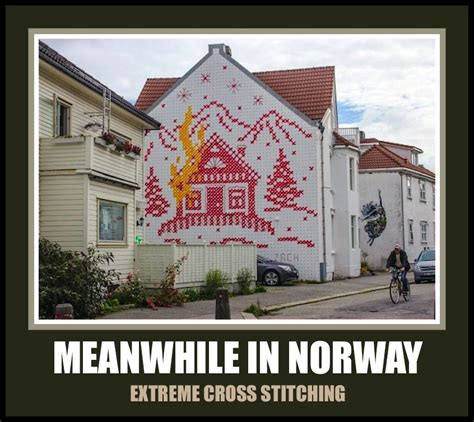 norway meme extreme cross stitching
