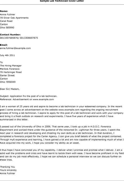 cover letter writing lab technician cover letter resume