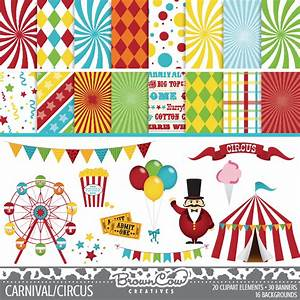 Carnival Clip Art Banners and Backgrounds by BrownCowCreatives