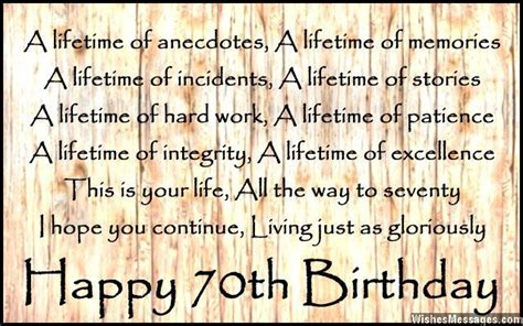 70th Birthday Poems Quotes Wishes Messages