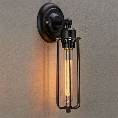 industrial sconces industrial edison vintage style mini black wire cage