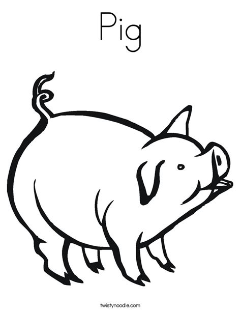 Pig Coloring Page Twisty Noodle