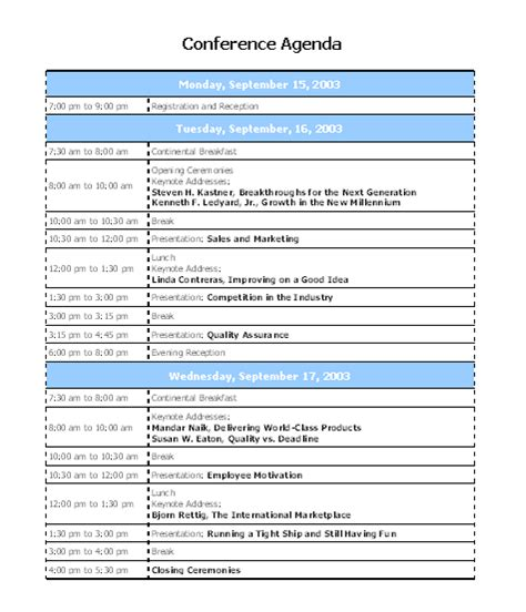 Time Agenda Template Word by Interesting Template Word Sle For Conference Agenda