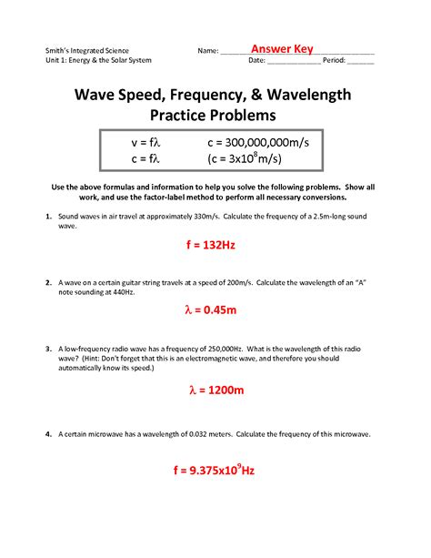 16 best images of wave equations worksheet wave equation
