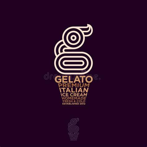 gelateria logo italian ice cream emblem  monogram  ice cream stock vector illustration