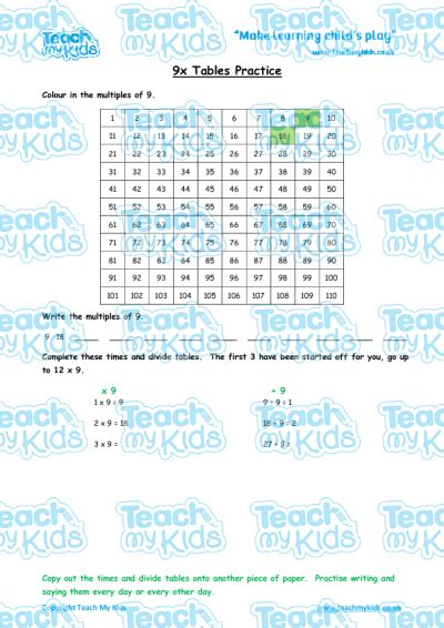 times tables practise x9 teach my kids