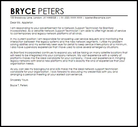Cover Letter For Network Technician network support technician cover letter sle cover