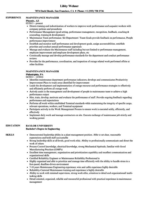 Maintenance Manager Resume by Maintenance Manager Resume Sles Velvet