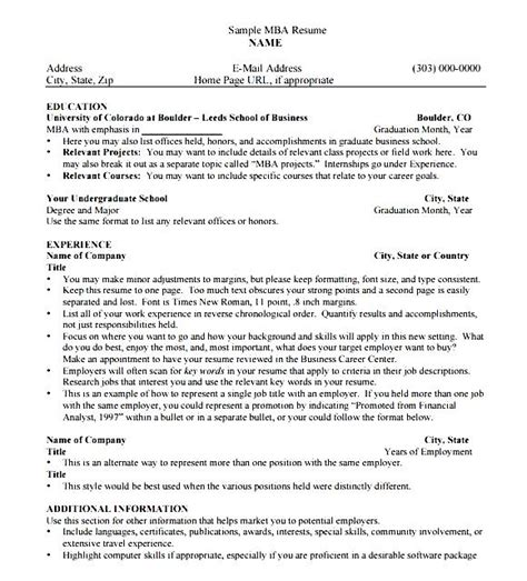 mba resume template free sles exles