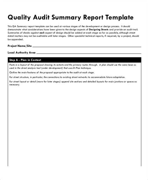 summary report template quality audit report templates 10 free word pdf format free premium templates