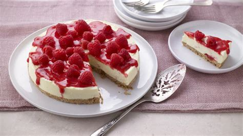 This raspberry cheesecake is best made the night before as it needs at least 6 hours to set before you dish it up. White chocolate and raspberry cheesecake recipe - BBC Food