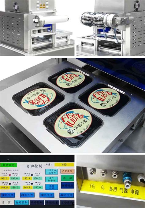 fresh meat food fruit tray gas flushing sealing machineautomatic modified atmosphere tray