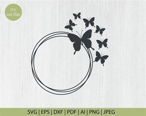 butterfly monogram frame butterfly circle monogram frames etsy   monogram frame