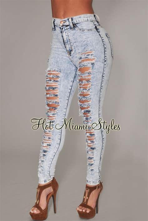 light wash high waisted skinny jeans light blue acid wash denim destroyed high waist skinny jeans