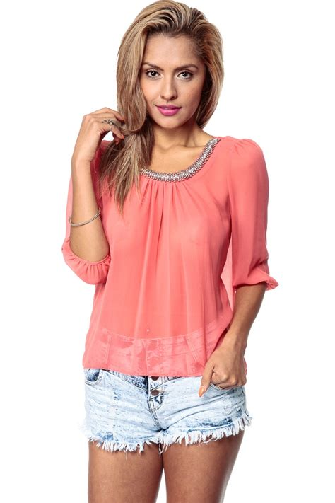 dress blouse embellished times sheer coral blouse cicihot top shirt