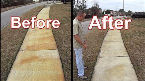 concrete sidewalk rust remove stains update weed pressure control wash
