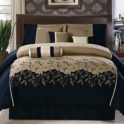 pc black coffee peony embroidery comforter set queen