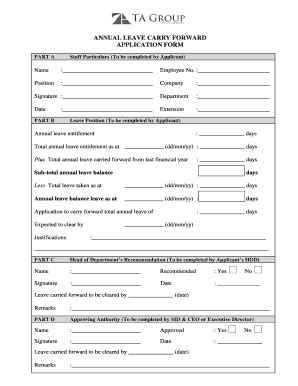 leave forward application formet fill online printable