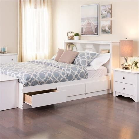 full size platform bed with storage and bookcase headboard prepac monterey white double full bookcase platform